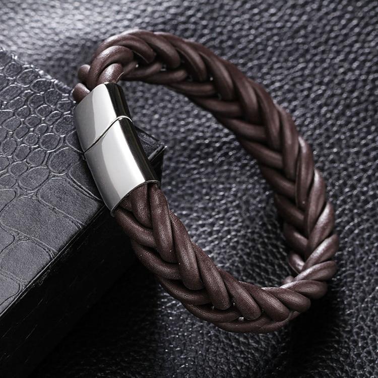 MOGE Fashion Men Jewelry Black Brown Braided Genuine Leather Bracelet Men Stainlees Steel Cuff Bracelets&Bangles Men Jewelry