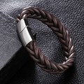 New Arrival 14mm Black Brown Braided Genuine Leather Bracelet Stainlees Steel Cuff Bracelets & Bangles Men Jewelry Free Shipping