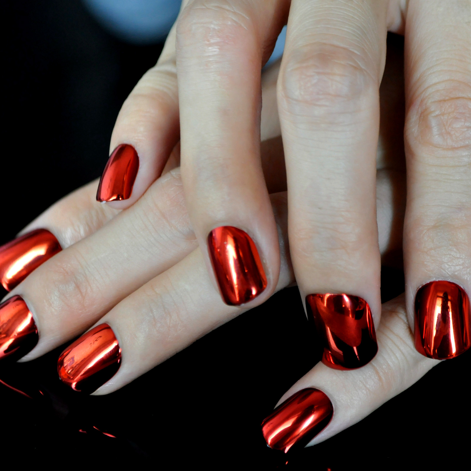 Flat Top Metallic False Nail Tips Sexy Mirror Shine Surface Hot Red Middle Design Finger Nails N09 In From Beauty Health On