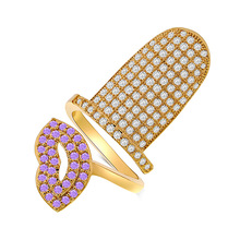 Joyería de moda pequeño brillante de uñas de calidad superior micro pave cz ajustable abierto rosa labio rojo de uñas anillos para las mujeres