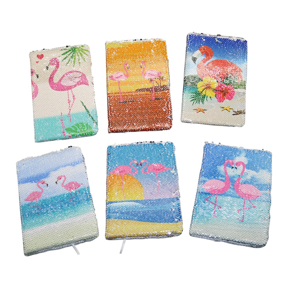 6 Styles Flamingo Cover Notebook Double-sided Sequins Special Creative A5 Simple Journal Writing Stationery Student Supplies