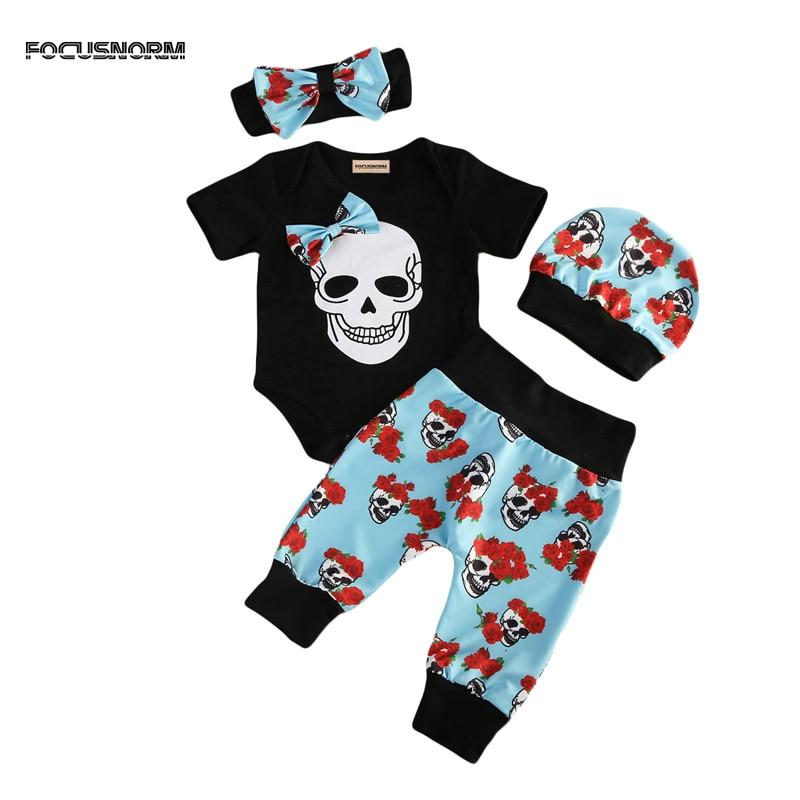 New Fashion 4pcs Newborn Babys Boy Girl Clothes Floral Jumpsuit Romper Long Pants Headba ...