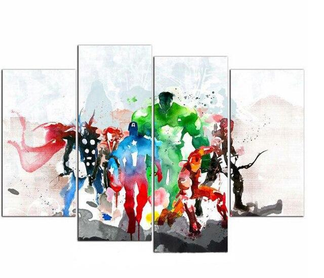 4 unidades unframed los Vengadores moderno lienzo pinturas al óleo ...