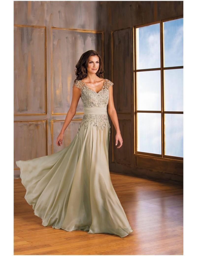 Una-línea-de-cuello-V-manga-casquillo-Appliques-del-cordón-madre-de-la-novia-vestidos-largos