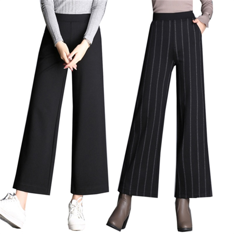 2018 Spring and Autumn winter women's high waist striped   wide     leg     pants   nine   pants   new large size fashion casual   wide     leg     pants