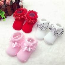 Lovely girl cotton Baby mini Dress Socks lace Princess socks infant 1st birthday newborn gift socks warm new year christmas(China)