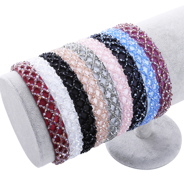 Haimeikang 2019 New Shining Rhinestone Hairband For Women Girls Geometric Wide Hair Band Bezel Headband Hair Accessories