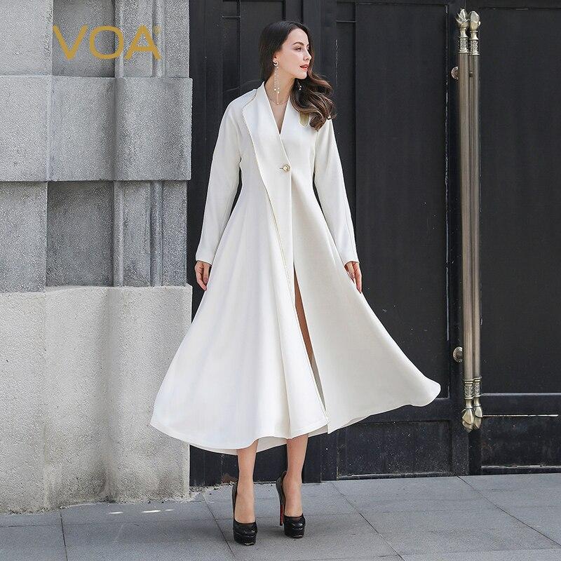 VOA Runway 100% Heavy Silk Tunic   Trench   Coat Women White Long Windbreaker Pearl Button gabardina mujer sobretudo vestiti F395