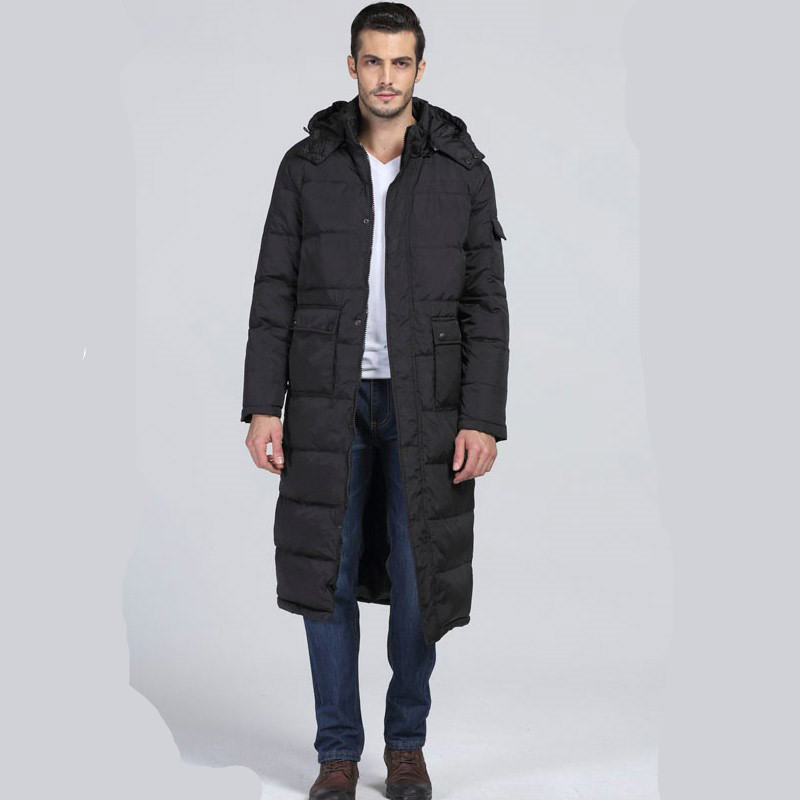 Winter Jacket Men Casual Male Thicken Wadded Extra Long Overcoat Warm Outwear Hooded Cotton Padded Coat Men's Fashion AU-128