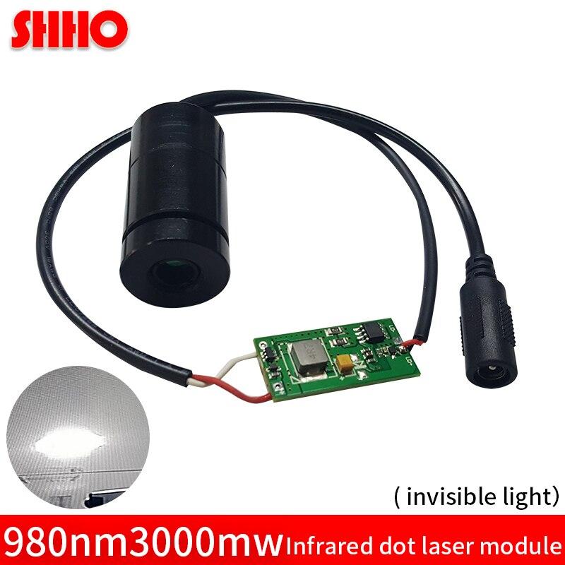 Новый высококачественный Регулируемый 980нм 3 Вт инфракрасный точечный лазерный модуль супер яркий 25*47 мм ИК лазер заполняющий свет оборудов