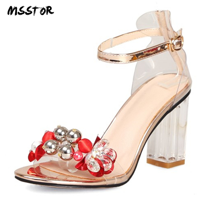 MSSTOR Transparent Crystal High Heels Sandals Sexy Fashion Appliques Peep Toe Summer Sandals Women Square Heel