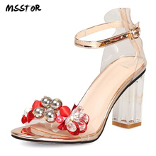MSSTOR Transparent Crystal High Heels Sandals Sexy Fashion Appliques Peep Toe Summer Sandals Women Square Heel Ladies Shoes 2019
