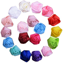 Wholesale 30pcs lot 5cm boutique hair rose flower DIY satin rolled rosette for Girls Hair accessories