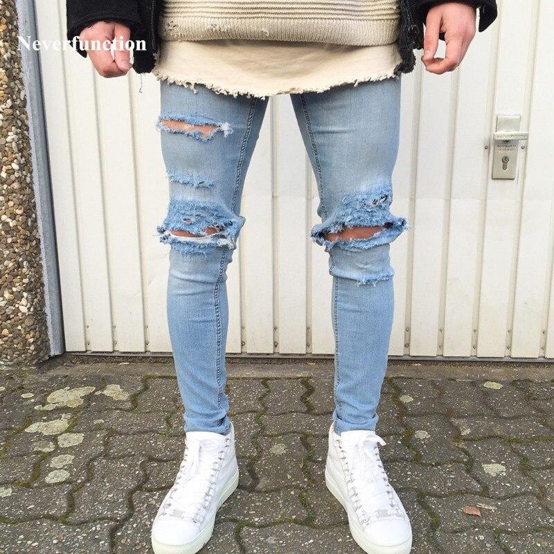 New Designer Men S Ripped Jeans Pants Slim Fit Light Blue Denim