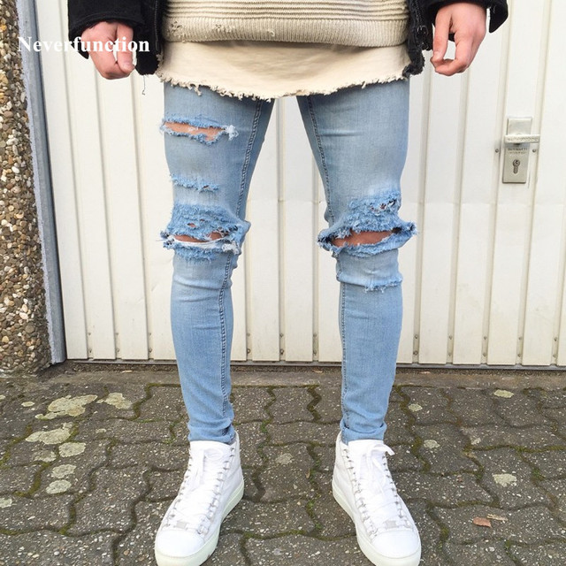 4c595f0994a New Designer Men's Ripped Jeans Pants Slim Fit Light Blue Denim Skinny  Joggers Male Distressed Destroyed Torn Trousers Pants