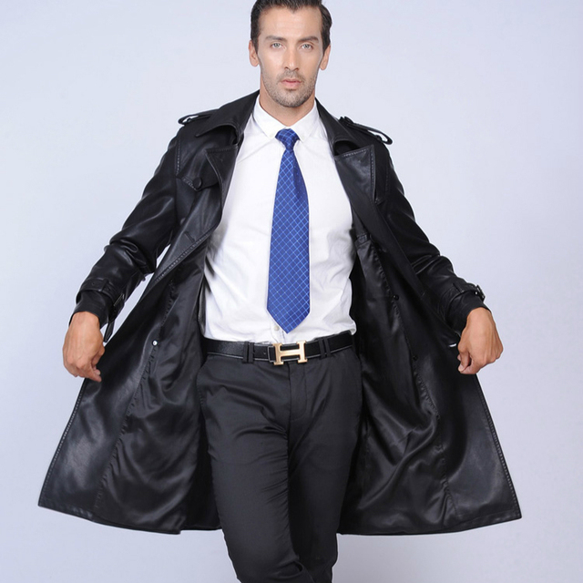 Men's Leather Jacket Long Suit Collar Sheepskin Genuine Leather Trench Medium-long Double Breasted Black Leather Coat Fashion