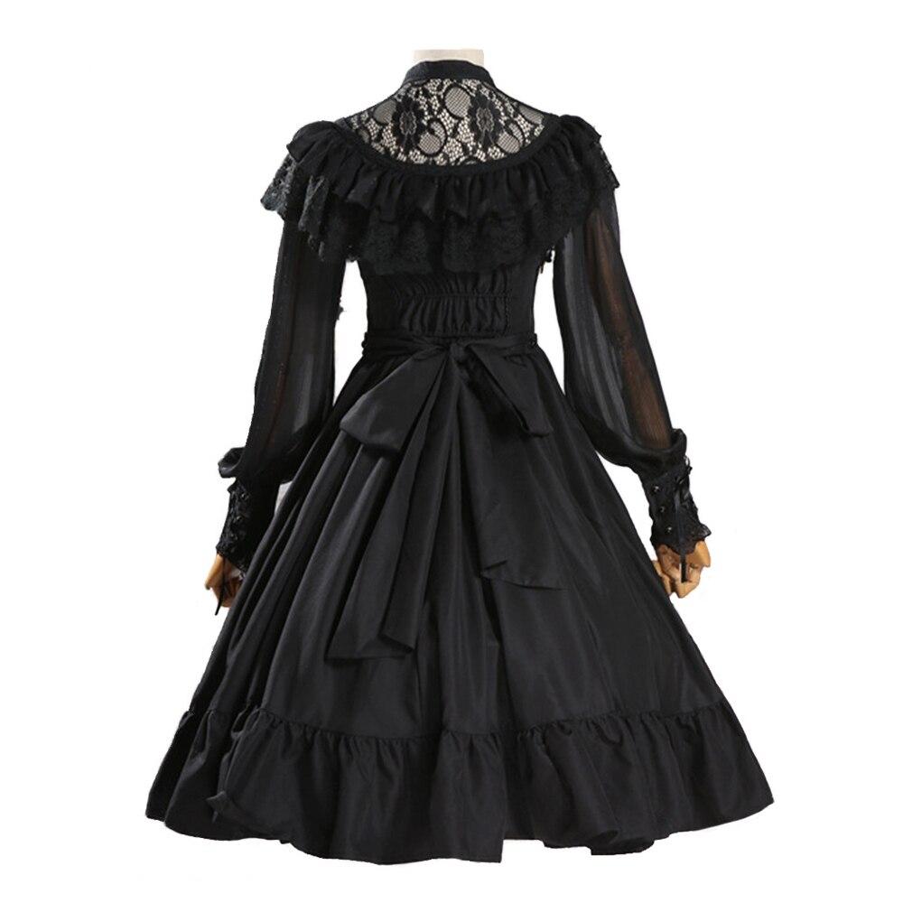 Robe Lolita manches longues robe en dentelle et mousseline de soie robe de mariée Lolita à volants - 3