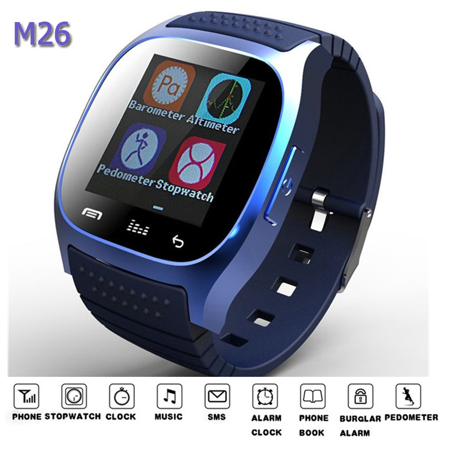M26 Bluetooth watch wristwatch smart watch dial SMS Remind music player pedometer for Android IOS watch
