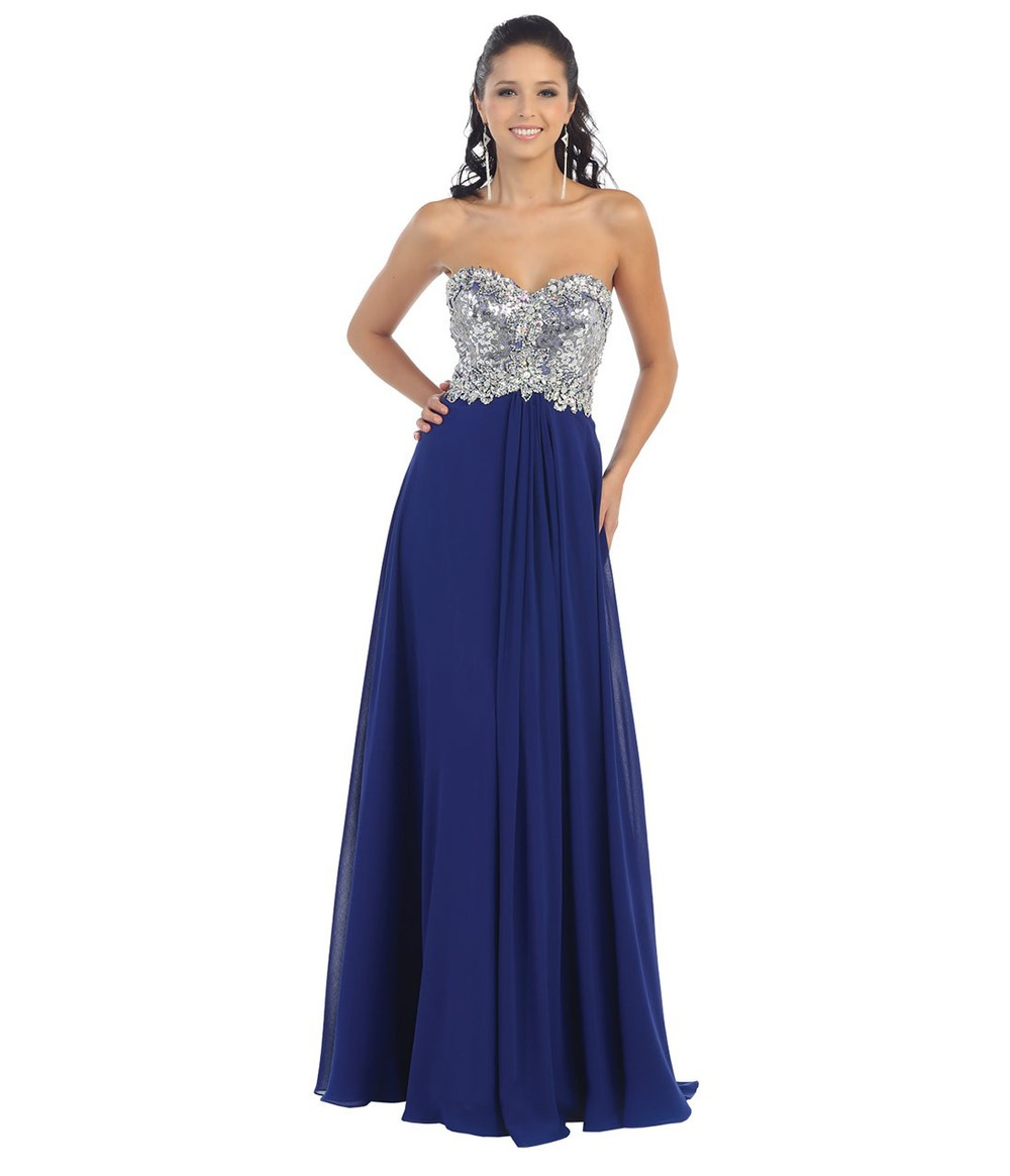 Sparkly Sequins Beaded Sweetheart Long Royal Blue Prom