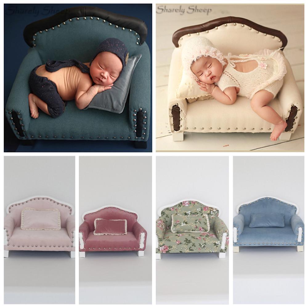 Nouveau-né bébé photographie doux canapé chaise accessoires imprimer à la main bébé Photo Shoot Studio posant canapé-lit Prop fotografia accessoire