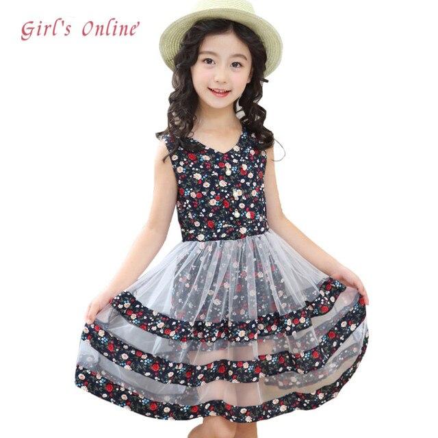 11c5f224331 Girls Dress 2018 New Fashion Two layers Mesh Summer Kids Dresses for Girls  3 4 5 6 7 8 9 10 11 12 Year Children Flower Clothing