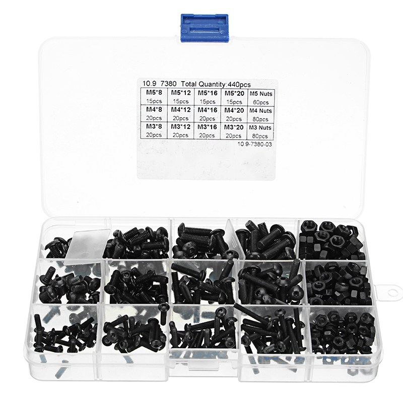 New 440pcs M3 M4 M5 Carbon Steel Black Hex Socket Screws Button Head Bolts Nuts Assortment Kit Set High Quality 440pcs m3 m4 m5 a2 stainless steel iso7380 button head allen bolts hexagon socket screws with nuts assortment kit no 2345
