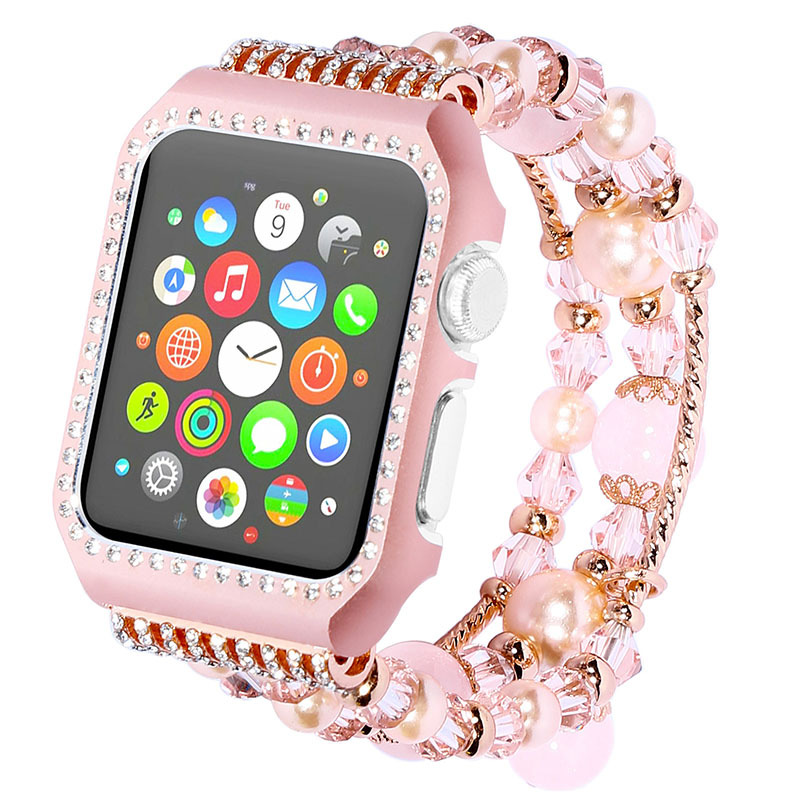 EIMO Agate bracelet For apple watch band 42mm 38mm wrist belt watchbands & Shiny Rhinestones Metal Case for Iwatch series 3/2/1 eimo silicone watch case strap for apple watch band 42mm 38mm bracelet wrist belt full screen protector case for iwatch 3 2 1