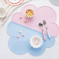 Silicone Flaky Clouds Placemat FDA Bar Mat Baby Kids Cloud Shaped Plate Mat Table Mat BPA Free Waterproof Set Home Kitchen Pads