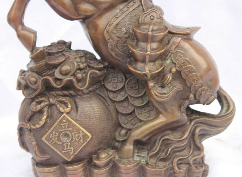 """SCY Elegant old S5846 10"""" Chinese Lucky Home Wealth Fengshui Bronze Zodiac Horse & Yuanbao Coin Statue (A 0319 discount 35%)"""
