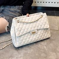 Large Luxury Brand Women Plaid Bags Female Quilted Handbags Black Designer PU Leather Big Chain Flap Crossbody Messenger Bag