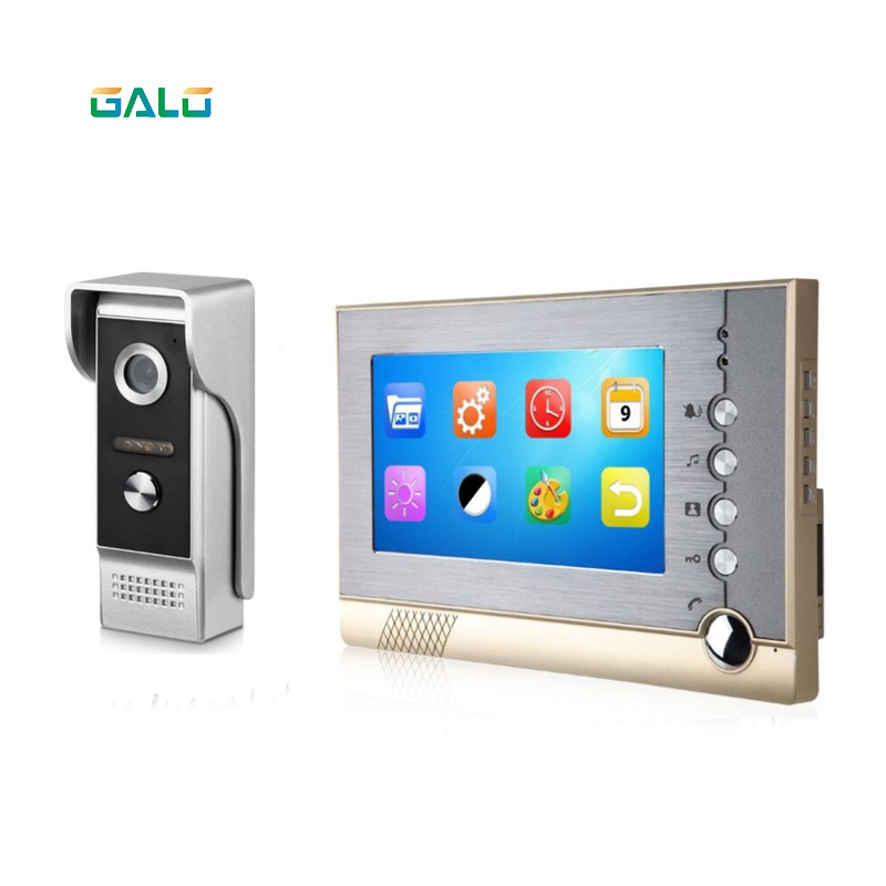 TFT LCD Screen 7 Inch Wired Video Doorbell Take Photo And Video Record Video Door Phone For Villa