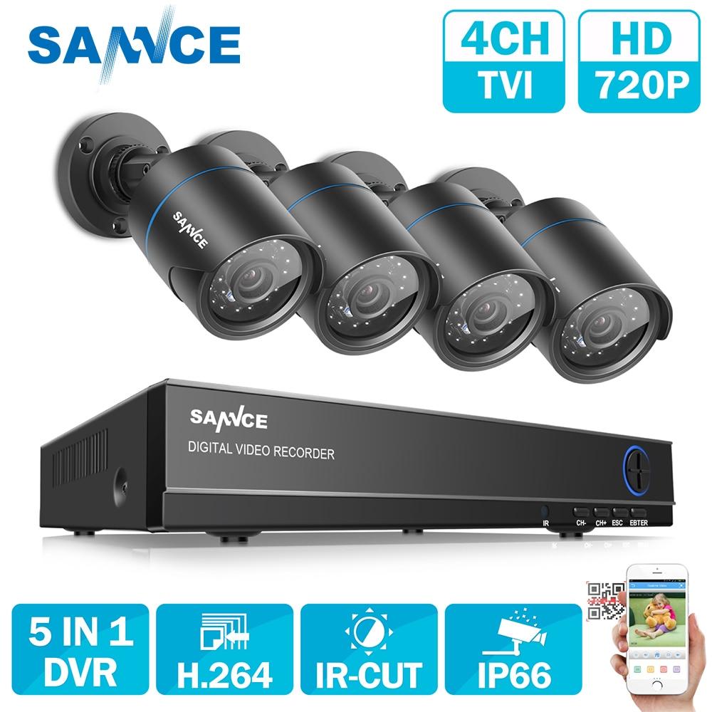 SANNCE HD 4CH 1080N 720 P CCTV системы HDMI AHD DVR 4 шт. 1200TVL ИК Открытый Ночное Видение безопасности камера товары теле и видеонаблюдения комплект