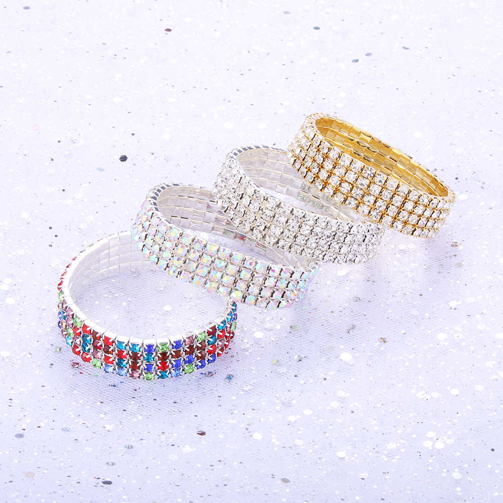 New Full Rhinestone Shiny Bracelet for Women Crystal Rhinestone Stretch Bracelet Bangle Wristband Elastic Wedding Bridal Jewelry
