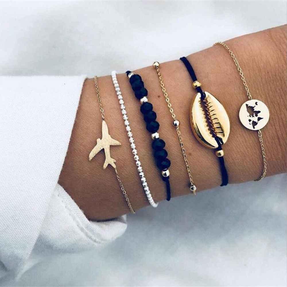 Czeski mapie kryształowy koralik bransoletki dla kobiet serce Shell gwiazda księżyc łuk bransoletka Charm biżuteria ślubna akcesoria dla graczy nowości