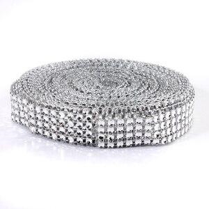 1 шт., серебряная Алмазная сетка, рулон, блестящие стразы, ленты с кристаллами для свадьбы, дня рождения, вечеринки, украшения, 10 ярдов