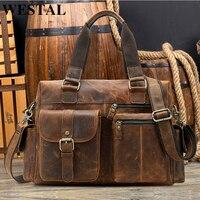 WESTAL пояса из натуральной кожи сумка для мужчин повседневное Мужские портфели ноутбука сумки компьютер кожа для docts