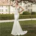 Sexy V Neck Beach Lace Mermaid Wedding Dress 2017 Custom Made Detachable Train Vestido de noiva Backless Robe de mariage