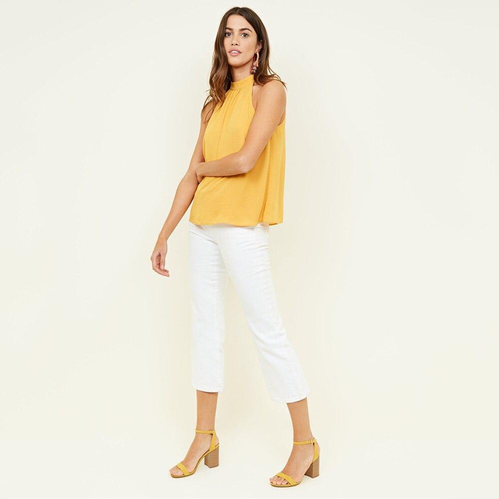yellow Blusas Sólido Mujeres random Mujer blue Moda Tops 6xl De Casual black Halter Camisa Mangas Cuello White Color 4xl Sin 5xl Color 2018 Hqp5p
