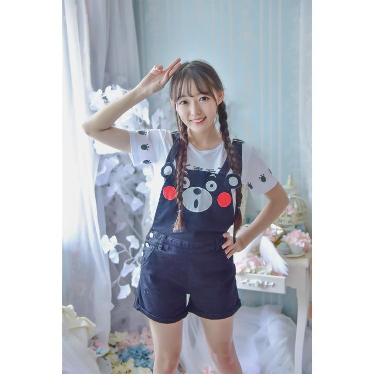 Anime Kumamon Strap Cosplay Costume Shorts Set Cosplay Strap Shorts T-shirt Women Size