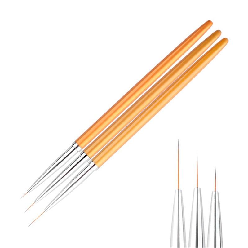 New 3Pcs/set Gold Nail Art Lines Painting Pen Brush