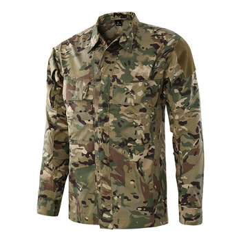 Camouflage Tactical Shirt Men Combat Military Uniform Outdoors Camping Hiking Climbing Camisas Male Training Fishing Clothes