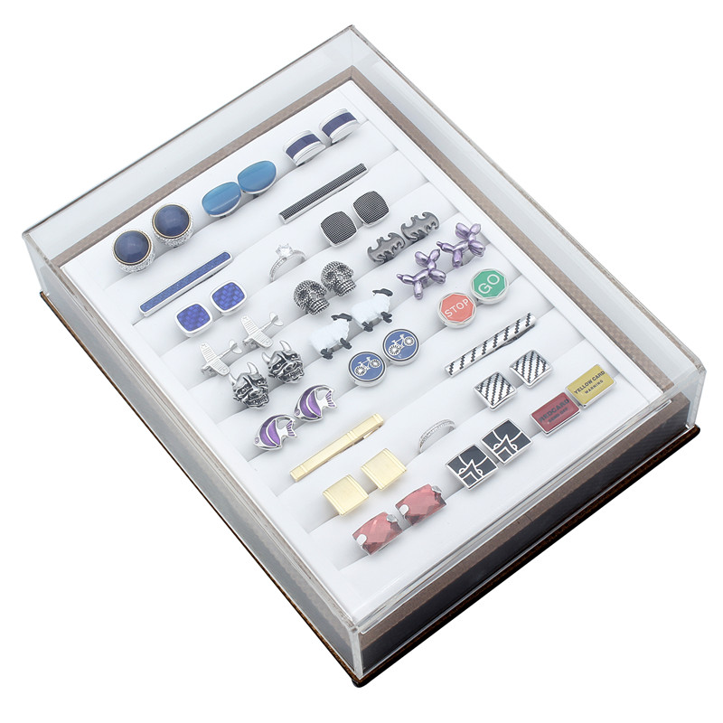 HAWSON Transparent Plastic Jewelry Display Box Cufflinks and Tie Clip Storage Box for Shop цены