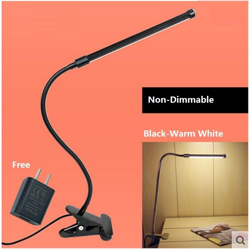 Бесплатная доставка USB Клип лампа для ноутбука, светодиодная лампа для чтения, 6 Вт алюминиевый гибкий трубчатый свет с адаптером питания и п