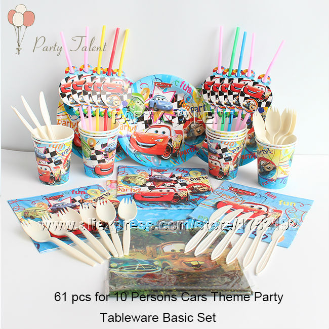 <font><b>Party</b></font> supplies 61pcs for 10 persons kids children popular <font><b>movie</b></font> Cars theme <font><b>party</b></font> tableware set, plate <font><b>cup</b></font> straw tablecloth ect.