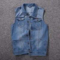 Big guy plus size M 5xl 6XL 7xl 8xl men denim vest Outerwear & Coats turn down collar male vest tops big for 150 kg black