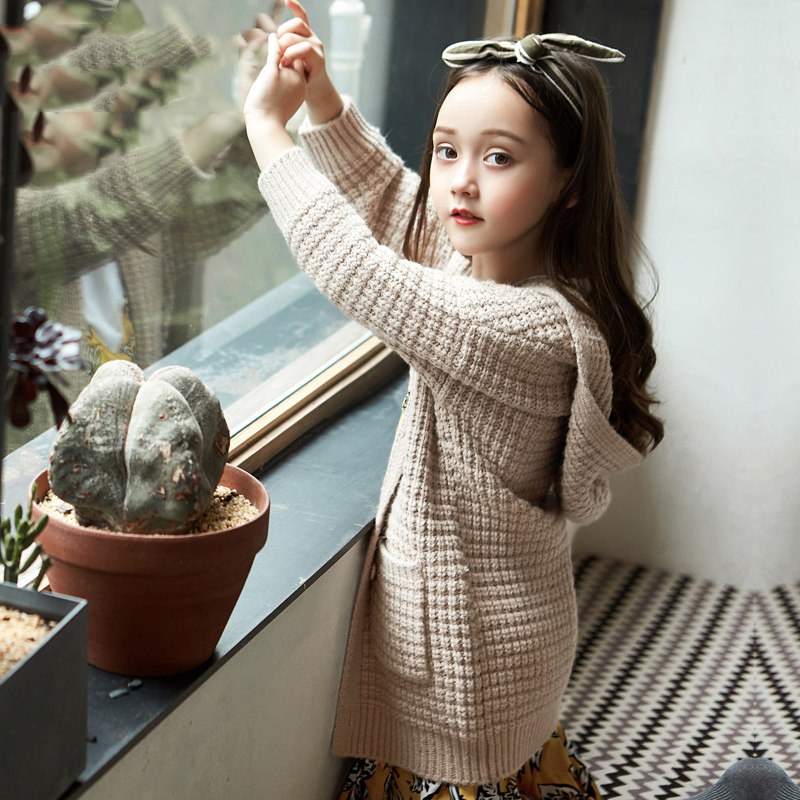 2017 Autumn Girls Cardigan Warm Wool Jacket Long Style Mustard Brown Color Weaved Fashion Coat ages Age56789 10 11 12Years Old warm brown