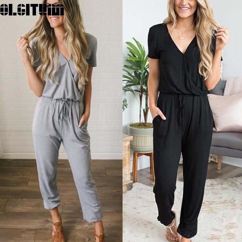 New 2019 Summer Suit Female Loose Casual Deep V Cross With Belt Tie Pleated Trousers Jumpsuit Ladies Suit WS108
