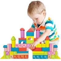 Бесплатная доставка Детские классические деревянные красочные познавательный строительные блоки игрушки Обучающие деревянные игрушки Де