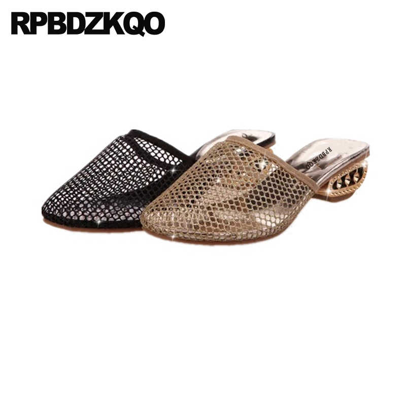 73c9675ae6c23a Pumps Closed Toe Block Crystal Diamond Mules Gold Shoes Low Heel Slides  Nice Rhinestone Women Sandals