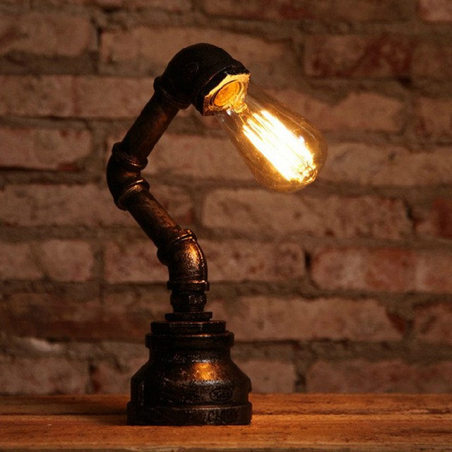Vintage Industrial Style Steel Pipe Desk Table Lamp Light Fixture Fitting  Bedroom Study - Vintage Industrial Style Steel Pipe Desk Table Lamp Light Fixture